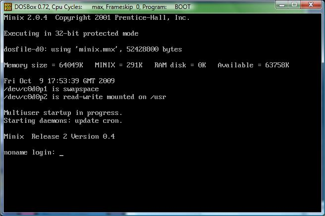 dosminix on DOSBox.