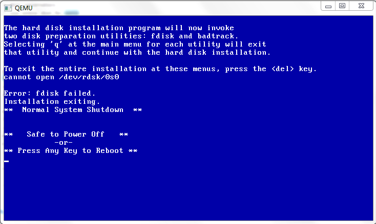 Cannot open /dev/rdsk/0s0!! Error: fdisk failed. !! Installtion exiting ??