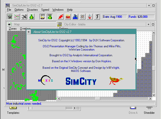SimCity for OS/2 2.7
