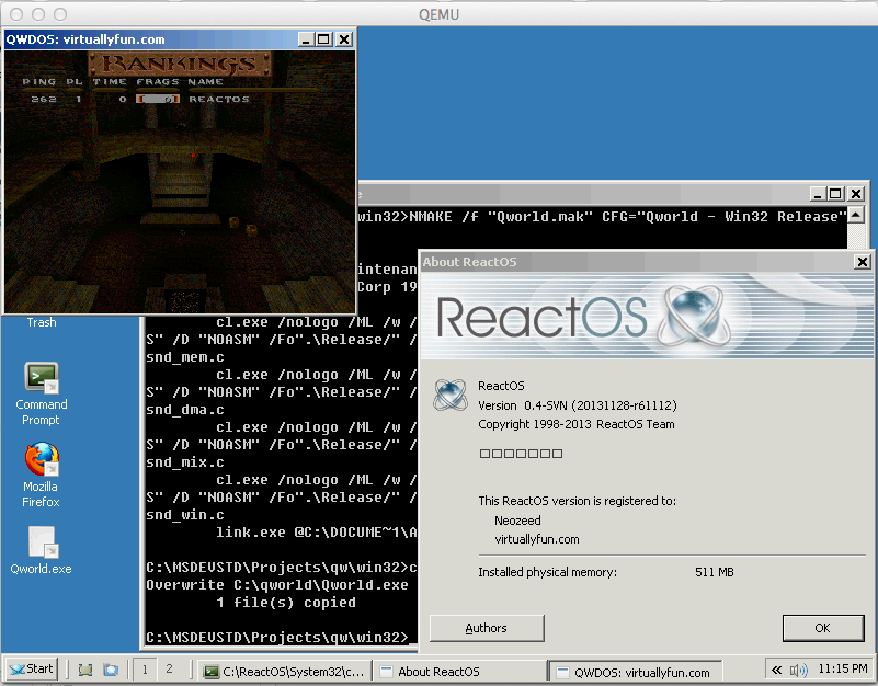 QWDOS Win32 on ReactOS