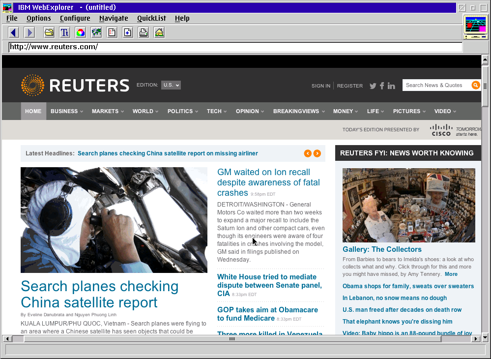Reuters via IBM Web Explorer