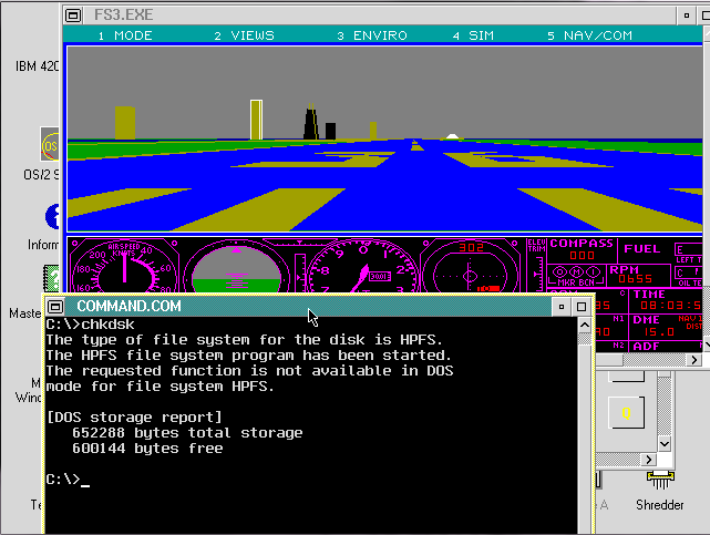 IBM OS/2 running Flight Simulator 3.0