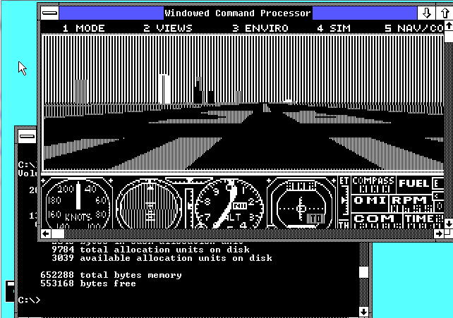 Windows 2.1/386 running Flight simulator 3.0 in a window