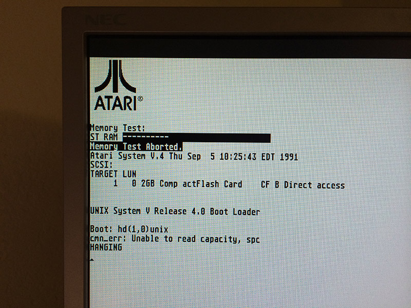 Atari SYS V failed to boot