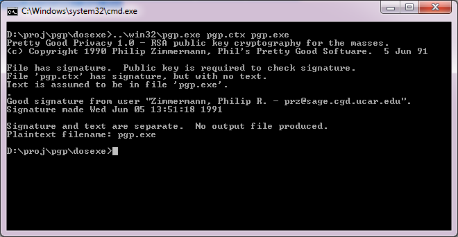 PGP 1.0 on Win32