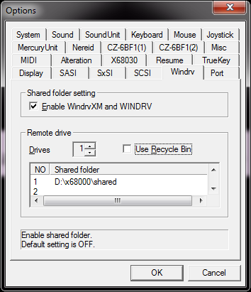 WindrvXM settings