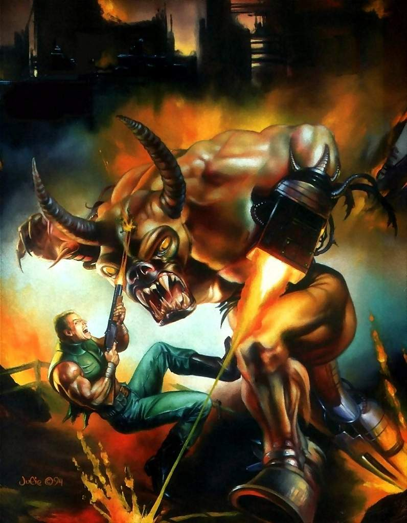 This original DOOM II box cover was painted by Julie Bell. The Cyberdemon didn't look right so we switched to BROM