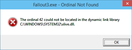 fallout 3 missing ordnal from xlive 9879