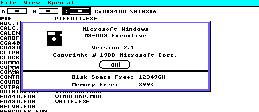Windows 2.1 running in real mode