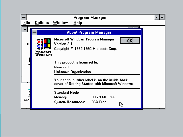 Windows 3.1 standard mode on a 286